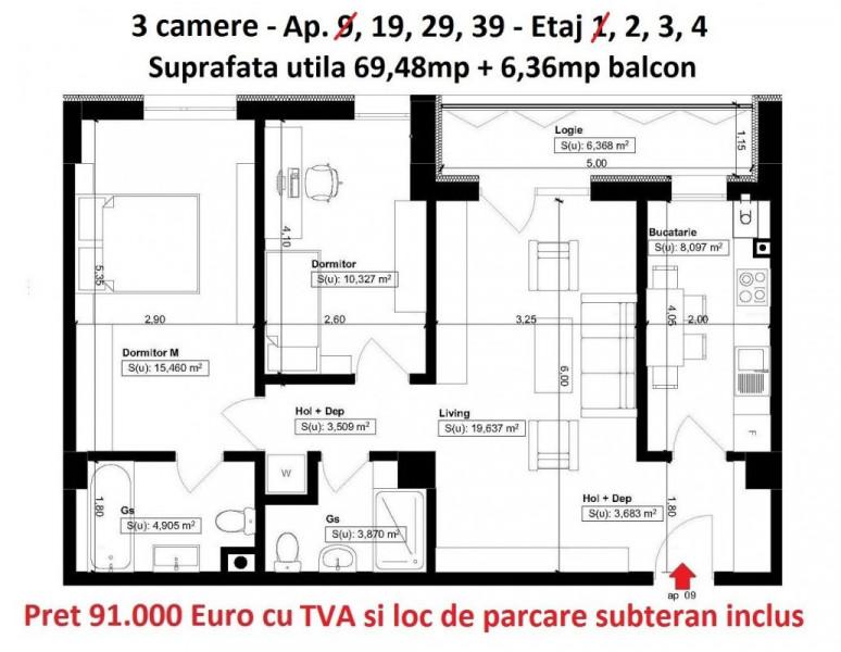 Elvila-3 camere 69,48mp+6,36mp balcon+loc de parcare subteran